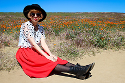 KENDALL SANCHÈZ - Polka Dot Tights, Vintage Red Midi Skirt (Similar), 3d Floral Blouse (Similar), Round Sunglasses (Similar), Black Round Hat, It's Kendall Kay Style Blog - .Poppy Fields Forever.