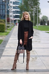 Ana Vukosavljevic - Vintage Turtleneck, Rosegal Skirt, Zaful Coat, Pink Basis Boots, Zaful Bag - OTK Boots