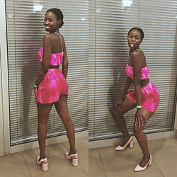 Lorna Mabuku - Ndapcee (Namibian Designer) Pink Tie Dye Bandeau, Ndapcee (Namibian Fashion Designer) Pink Tie Dye Shorts, The Fix Pale Pink Pointy Thick Sole Heel - BARBIE