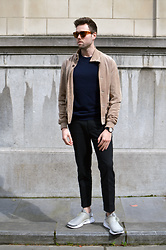 Jordi - Acne Studios Frame Sunglasses, Topman Suede Jacket, Cos Jumper, Briston Clubmaster Watch, H&M Trend Trousers, Nike Sock Dart - Sand