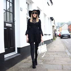 Charlotte Clothier - Asos Black Lace Dress, New Look Black Boots, New Look White Bag, Topshop Black Hat, Primark Black Circle Sunglasses - White springs in the dark
