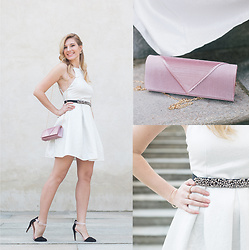 Cristina Siccardi - Oh My Love London White Dress, Stradivarius Black And Blush Heels, Anna Field Pink Pochette - Dreamy White