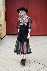Saskia B. - Underground Creepers Double Sole, H&M Hat - Floral mesh dress.