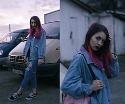 Valeria Chizhova - Zaful Denim Jacket, Jeans - Denim and fishnets from leraseyo.blogspot.com