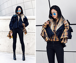 Day Ji - Vivienne Westwood X Lee Denim Jacket, Asos Shirt, Plac Jeans, Public Desire Boots - Seoul Fashion Week: Day2