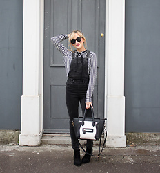 Charlotte Clothier - Primark Black Round Glasses, Zara Dogtooth Blouse, Newlook Black Dungarees, Celine Bag, Newlook Boots - Ferryside