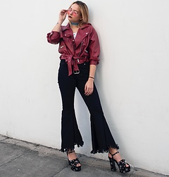 Dominique Malinowska - Missguided Flare Jeans, Bershka Red Leather Jacket, Saint Laurent Star Sandals, Forever 21 Denim Choker - That Disco Vibe