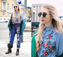 Lena - Zaful Embroidered Jeans, Zara Boots, Zara Bag, H&M Bomber, H&M Belt, Sammydress Striped Embroidered Shirt - MBFWRussia 34. Day 4