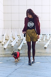 Maria P - Topshop Burgundy Bomber Jacket, The Strokes T Shirt, Topshop Gold Pleated Mini Skirt, Studded Flats - Strokes tee & gold pleated mini