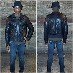 Thomas G - Xhilaration Faux Leather Jacket, L.A. Idol Usa Dark Denim, Faded Glory Fedora - Fedora + Leather + Jeans