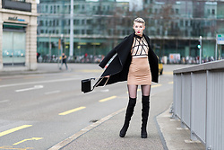BEHINDHERMASK - H&M Black Straigh Coat, Missguided Nude Dress & Top, River Island Overknee Boots - Layering nudes