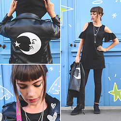 ♡Nelly Kitty♡ - Killstar Vega Luna Biker Jacket, Asos Cut Out Black Mini Dress, Puma Suede Platform - OOTD#23