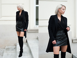 MONIKA S - Masculine Coat, Mesh Plunge Bodysuit, Paent Leather Skirt, Leather Clutch With Chain, Over The Knee Thigh Boots - LAVA IN VEINS