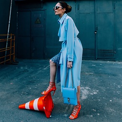 Retuksa - Masha Mart Design Trench, Anna Kruz Bag, Chic Wish Skirt, Aquazzura Sandals - Orangeblue
