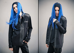 Kyris Kat - Midnyte Fantasy Blue Ombre Wig, Lip Service Industrial Goth Jacket - Solace