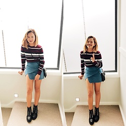 Nloua - H&M Striped Long Sleeve, Denim Skirt, Boohoo Nancy Chain Detail Lace Up Hiker Boot - Stripey, mate!