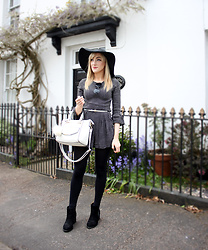 Charlotte Clothier - Topshop Black Hat, Miss Selfridge Polka Dot Playsuit, Black Round Sunglasses, White Bag - New Leaf Cottage