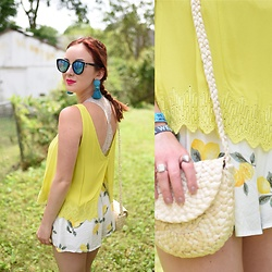 Cadyn Scott - Vestique Chartreuse Open Back Top, Asos Basketweave Cross Body, Forever 21 Lemon Print Shorts, H&M Turquoise Tassel Earrings, Quay Mirrored Cat Eye Sunglasses - Lemon Festival Look