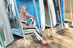Kayla J - Voodoo Vixen Zara Jumpsuit - Stripes and Boats