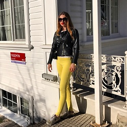 Imgoshka - Zara Leather Jacket, Zara Yellow Pants, Guess Sneakers - Towards to Sun