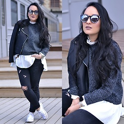 Valeria Melnikova - Romwe Sweater, Reserved Jacket, Reserved Jeans, Converse Shoes, Lindex Sunglasses, Michael Kors Watch - ROCK 'N' GLAM