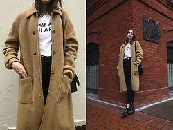 Katie Bauer - J. Crew Coat, Wildfang T Shirt, Creatures Of Comfort Boots - Don't Blink