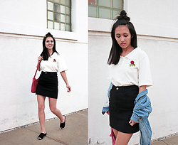 Sheila - Embroidery Patch Top, Primark Black Mini Skirt, Dsw Black Sandals - Embroidery Trend