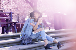 Louise Xin - Embroidered Leather Jacket, Denim Mules, Ripped Jeans, Ruffled Top, Zara Blue Bag, H&M Black Hat - Cherry Blossom