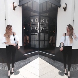 Esther E. - Pimkie White Off Shoulder Blouse, Gina Tricot High Waisted Black Jeans, Buffalo Black Pumps, Waldore Watches Black Gold Watch, Bijou Brigitte Gold Necklace - Breakfast at Benedict's