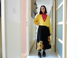 Lulu Longstocking - Vintage Cardigan, Vintage Skirt - Sunflowers