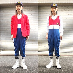 @KiD - A Tribe Called Quest Cap, Honda Racing Jump Suits, Vintage Red Jacket, Dr. Martens White Boots, +J Dress Shirts - Japanese Trash129