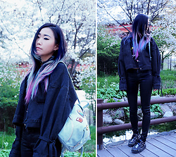 Day Ji - Andersson Bell Denim Jacket, Rebecca Minkoff Julian Backpack, Lazy Oaf Top, Underground X Ashish Creepers, Valfre Choker - Cherry Blossoms