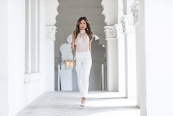 Jessi Malay - Ramy Brook Paige Top, Ramy Brook Maria Skinny Pants, Tony Bianco Kiki Heel, Tom Frod Natalia Bag, Bauble Bar Mya Drop Earrings - White + Blush Tones