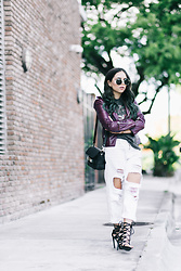 Daniela Ramirez - White Ripped Boyfriend Jeans, Shoedazzle Lace Up Sandals, Proenza Schouler Bag - Mermaid hair, leather Jacket, ripped jeans