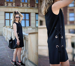 Wioletta Mary Kate - Missguided Dress, Reserved Bag, Nike Shoes - Black Dress & Nike