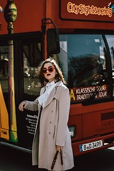 Andreea Birsan - Beige Trench Coat, Red Cat Eye Sunglasses - Postcards from Berlin