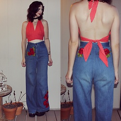 "Michelle Blue - Vintage Homemade Embroidered Bell Bottoms, Vintage Handmade Backless Halter Crop Top - ""An Anarchist In Love"""
