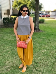 TheVagabondWayfarer - Zaful Mustard Yellow Pants, Madewell Zip Pouch, Zara Yellow Shoes, Ray Ban Wayfarer, Michael Kors Watch, Zara Collared Striped Top - Styling yellow pants