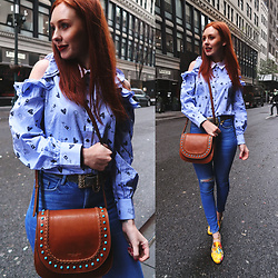 Trixie Belle (instagram = TRIXANDTHECITY) - Vipme Frill Blouse, Tignanello Leather Saddle Bag, Mules - FRILLZ