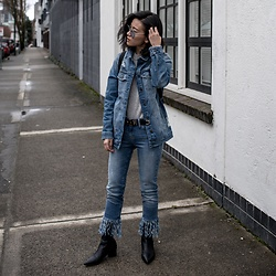 Claire Liu - Mavi Denim Jacket, Mavi Denim Jeans, Kendall And Jenner Booties - Double Denim