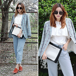 Rekay Style - Gentle Monster Round Shape Sunglass, &Other Stories Check Blazer, & Other Stories Ruffle Blouse, Balenciaga Canvas Clutch Bag, Topshop Boyfriend Jeans, Maryam Nassir Zadeh Suede Mules - Spring Check with Ruffles