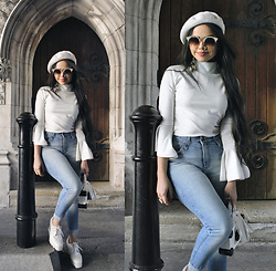 Clara Campelo - Top, Denim, Sunglasses - White + denim