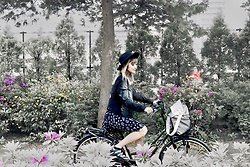 Chiemi Ito - American Eagle Outfitters Denim Jacket, Topshop Shoes, Monki Dress, H&M Wide Brim Hat - Spring ride