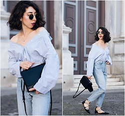 Theoni Argyropoulou - Zara Striped Shirt, Levi's® Mom Jeans, Lace Up Ballet Shoes, Shoulder Bag, H&M Necklace, Sunglasses - DIY off-the-shoulder Striped shirt on somethingvogue.com