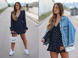Claudia Villanueva - Asos Sunglasses, Vintage Jacket, Zara Playsuit, Primark Bag, Superga Sneakers - Polka Dots