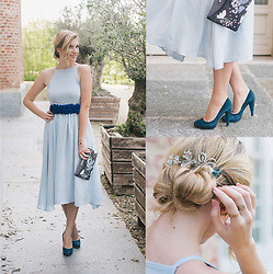 Cristina Siccardi - Wild Pony Light Blue Dress, Mauro Leone Blue Sede Heels, Dorothy Perkins Black Floral Pochette, Asos Hair Jewels - Dreamy Light Blue
