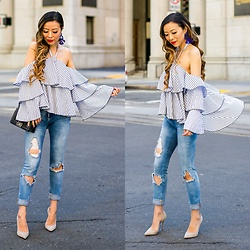 Sasa Zoe - On Sale For Only $22 Top, $88 Jeans, Earrings, Heels, Bag - IT'S ALL ABOUT RUFFLES BABE