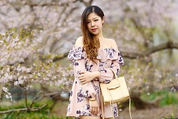 Ophelia Tang - Rebecca Minkoff Mini Mab, Charlotte Russe Floral Romper - Off the Shoulder Spring Florals