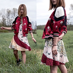 Claire Liu - Coach Shrunken Varsity Jacket, Coach Mixed Print Dress - Coach 1941 Mixed Print Dress