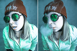 Shanna May - Boohoo Bad Hair Day Beanie, Steampunk Sunglasses, White Blouse - The Menace Your Parents Warned You About.